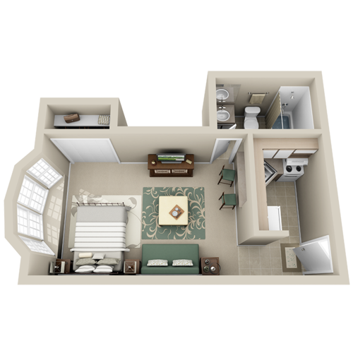 Studio 335 350 Sq Ft Small Apartment Design