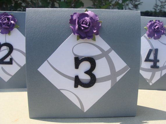 Wedding Table Numbers  Purple Rose on Dark Grey by crafting4u, $28.00