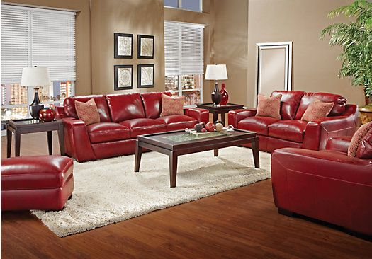 3pc Leather Livingroom Set 2 435 00 Red Couch Living Room Classic Living Room At Home Furniture Store