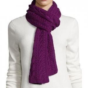 73% off Oscar de la Renta - Cashmere Cable-Knit Scarf Orchid Purple - $417.50