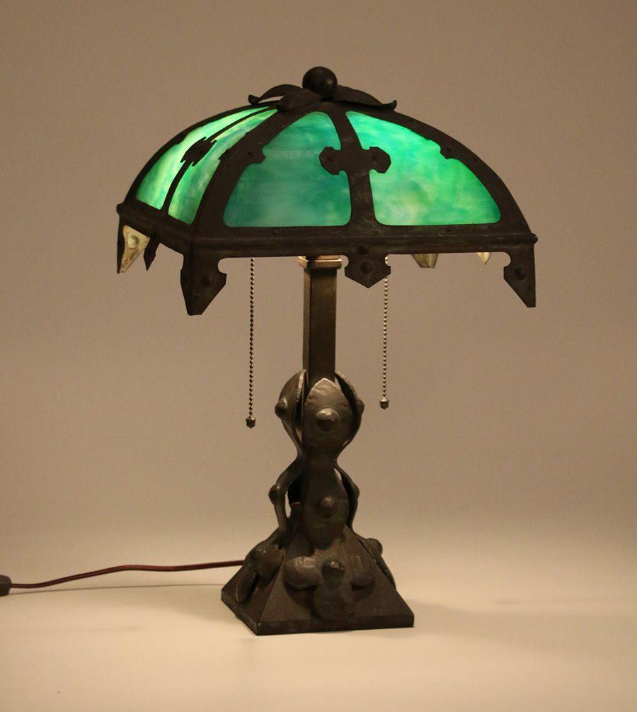 Arts & Crafts Iron & Slagglass Lamp c1910 Lamp, Antique