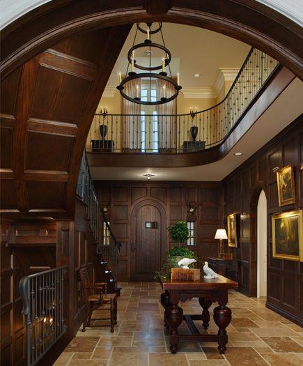 Interior Decorators In Michigan: In This Award Winning Foyer, Stile & Rail Oak Paneling And