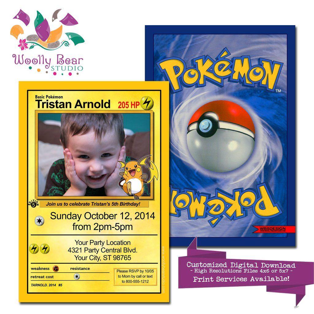 pokemon card photo birthday invitation | pokemon birthday