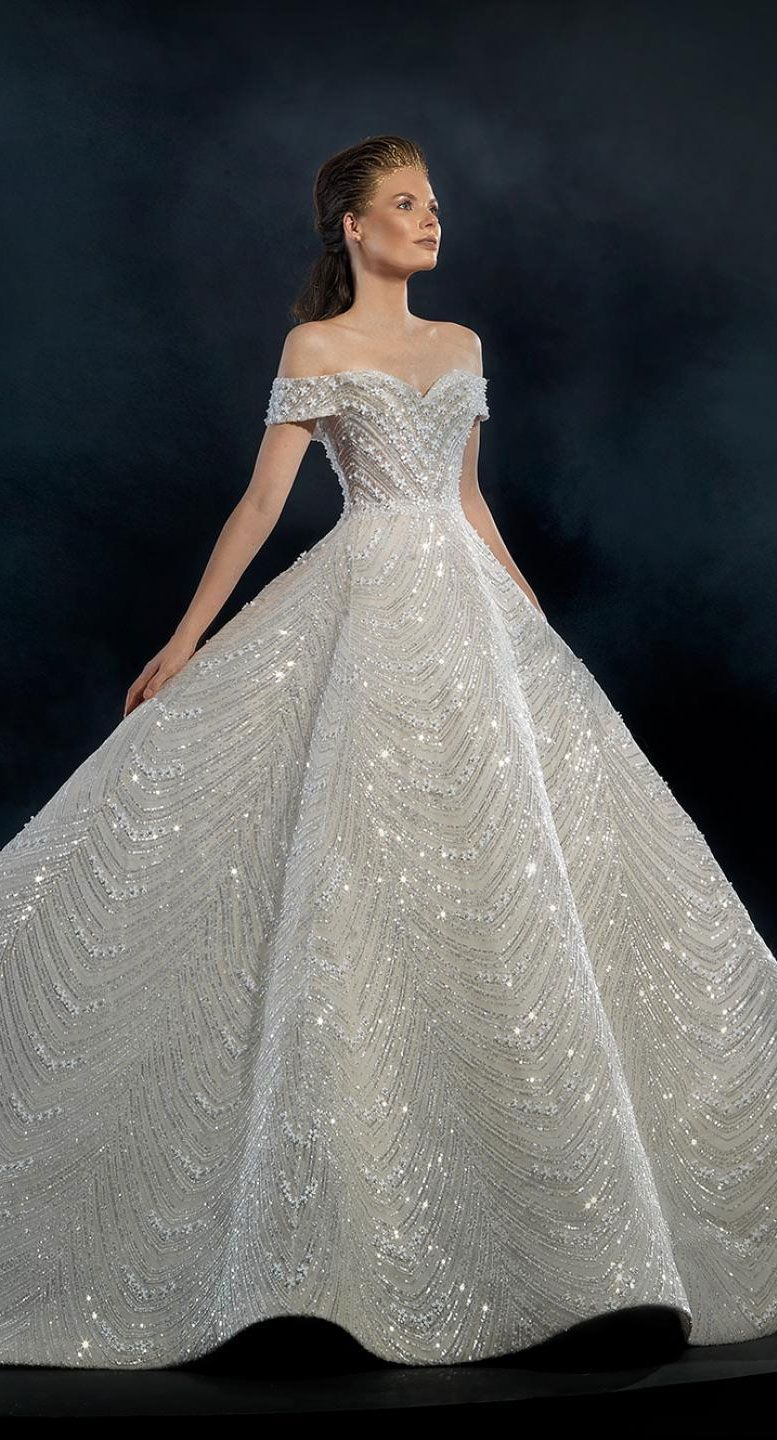 Naja Saade Couture 2019 Wedding Dresses - Starlight 2019 Bridal Collection - Off the shoulder wedding dress with loyal train #wedding #weddingdress #weddinggown