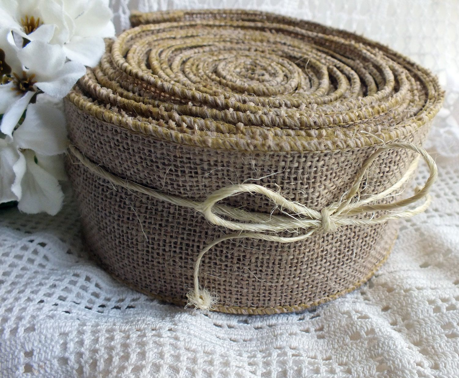 Knitted wedding decorations  Burlap Ribbon Burlap Pew Bow Two and One Half Inch Wired Burlap