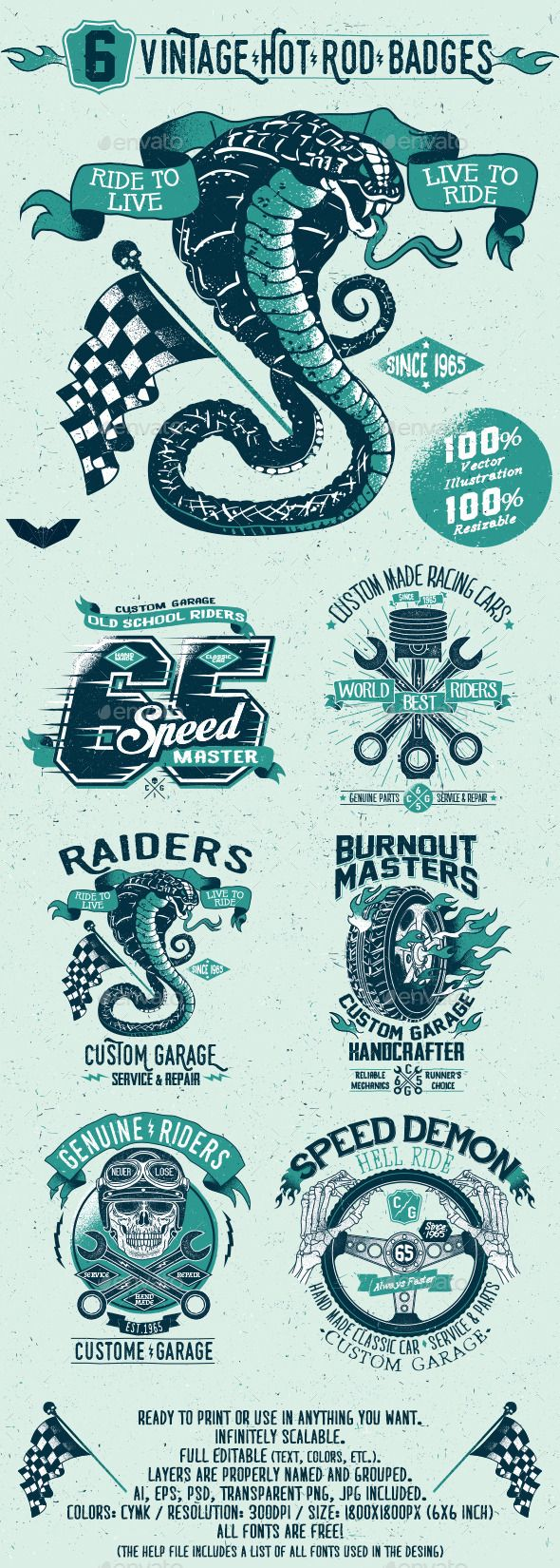 Car sticker design psd - 6 Vintage Hot Rod Badges Design Badges Download Http Graphicriver