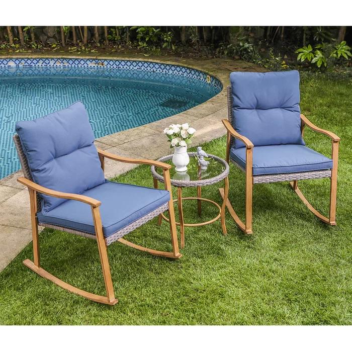 3 Piece Outdoor Patio Furniture Faux Woodgrain Rocking Chairs Warm