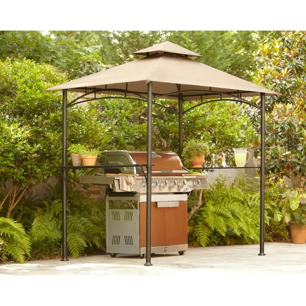 Hampton Bay 8 Ft. X 5 Ft. Tiki Grill Gazebo-L-GG019PST