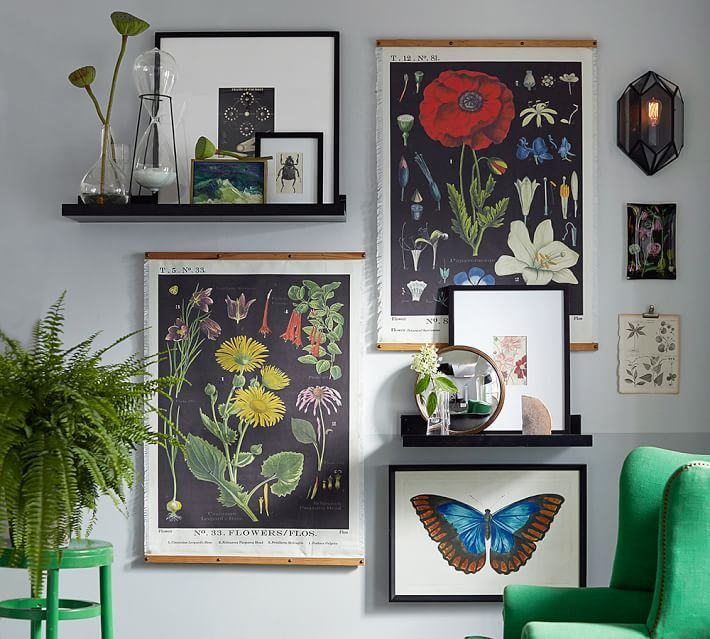 Vintage Inspired Botantical Prints Bring A Sense Of History And A Pop Of  Color To This Gallery Wall. Amazing Pictures