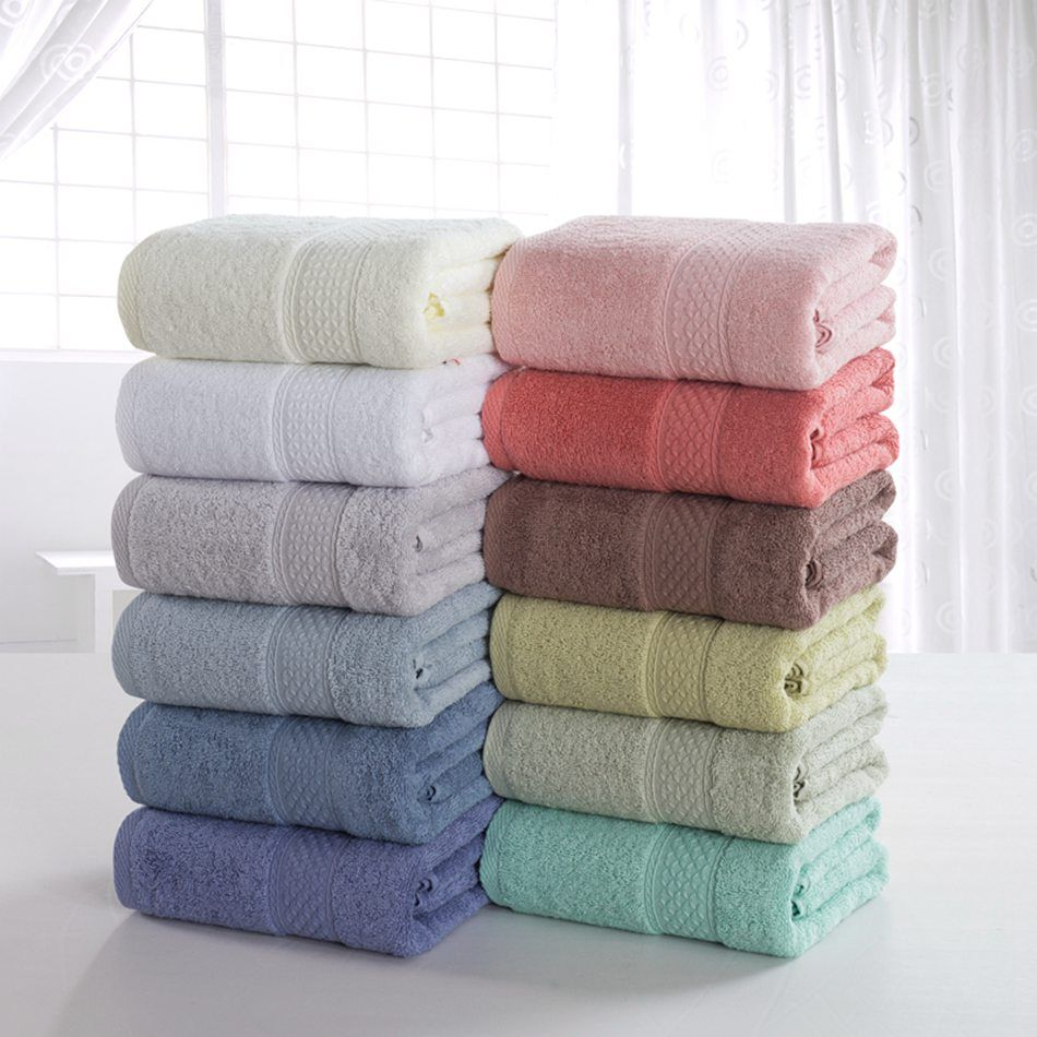 Cotton solid bath towel beach towel for adults fast drying soft