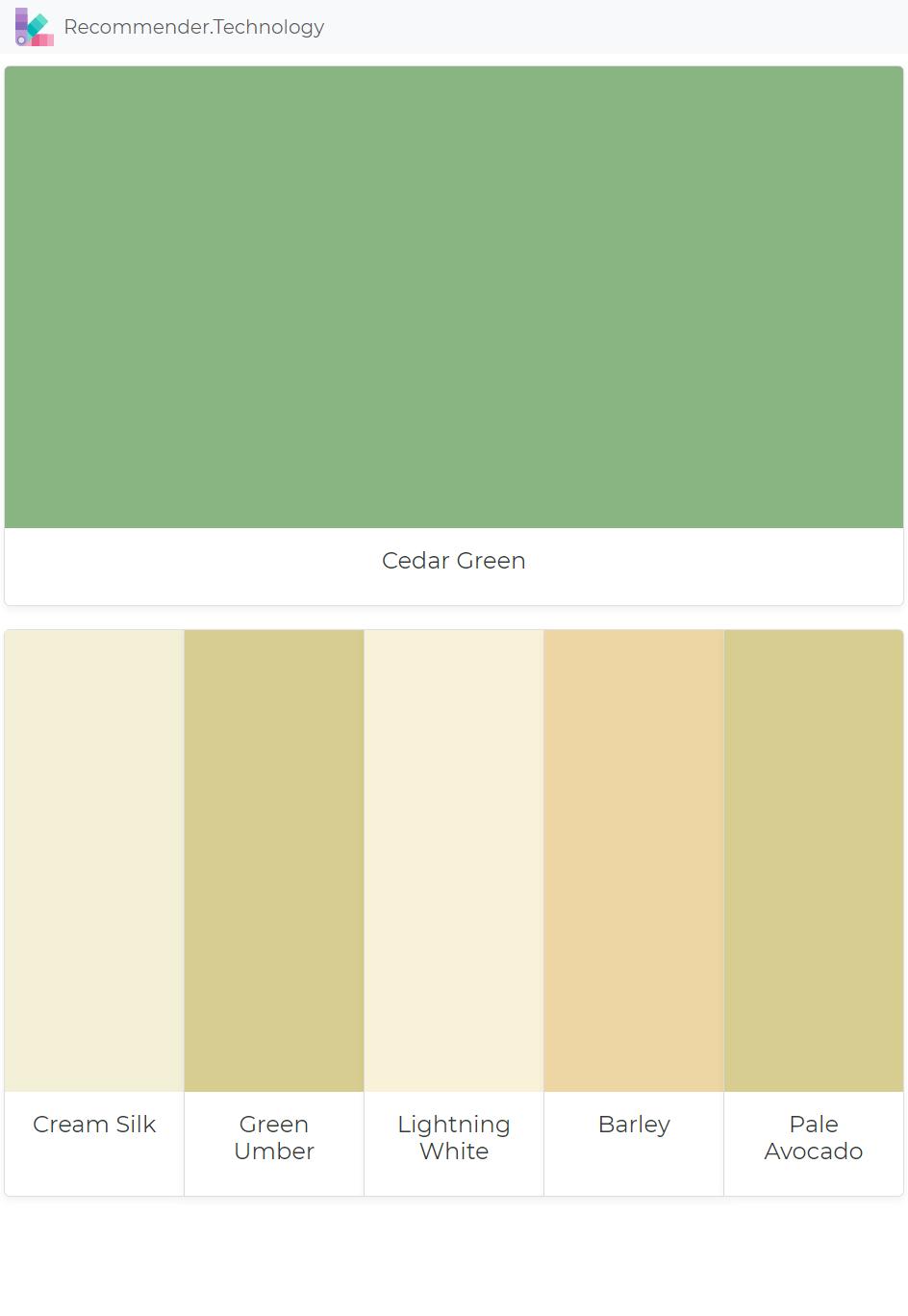 Cedar Green: Cream Silk, Green Umber, Lightning White, Barley, Pale ...
