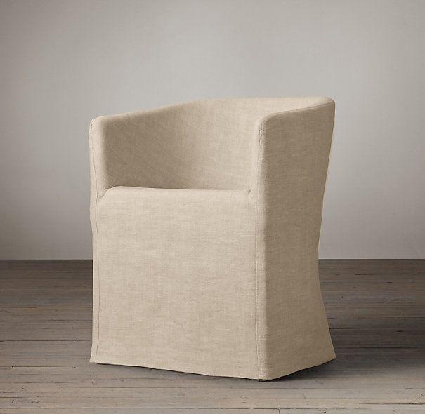 Host chair option Barrelback Slipcovered Long Skirt Armchair