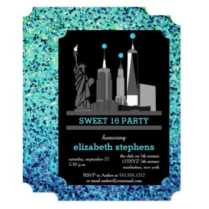Turquoise New York City Skyline Sweet 16 Party Card