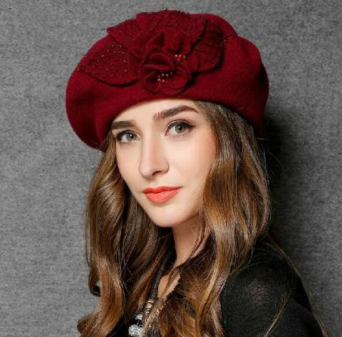 e65558d655c70 British fashion flower beret hat for lady retro style