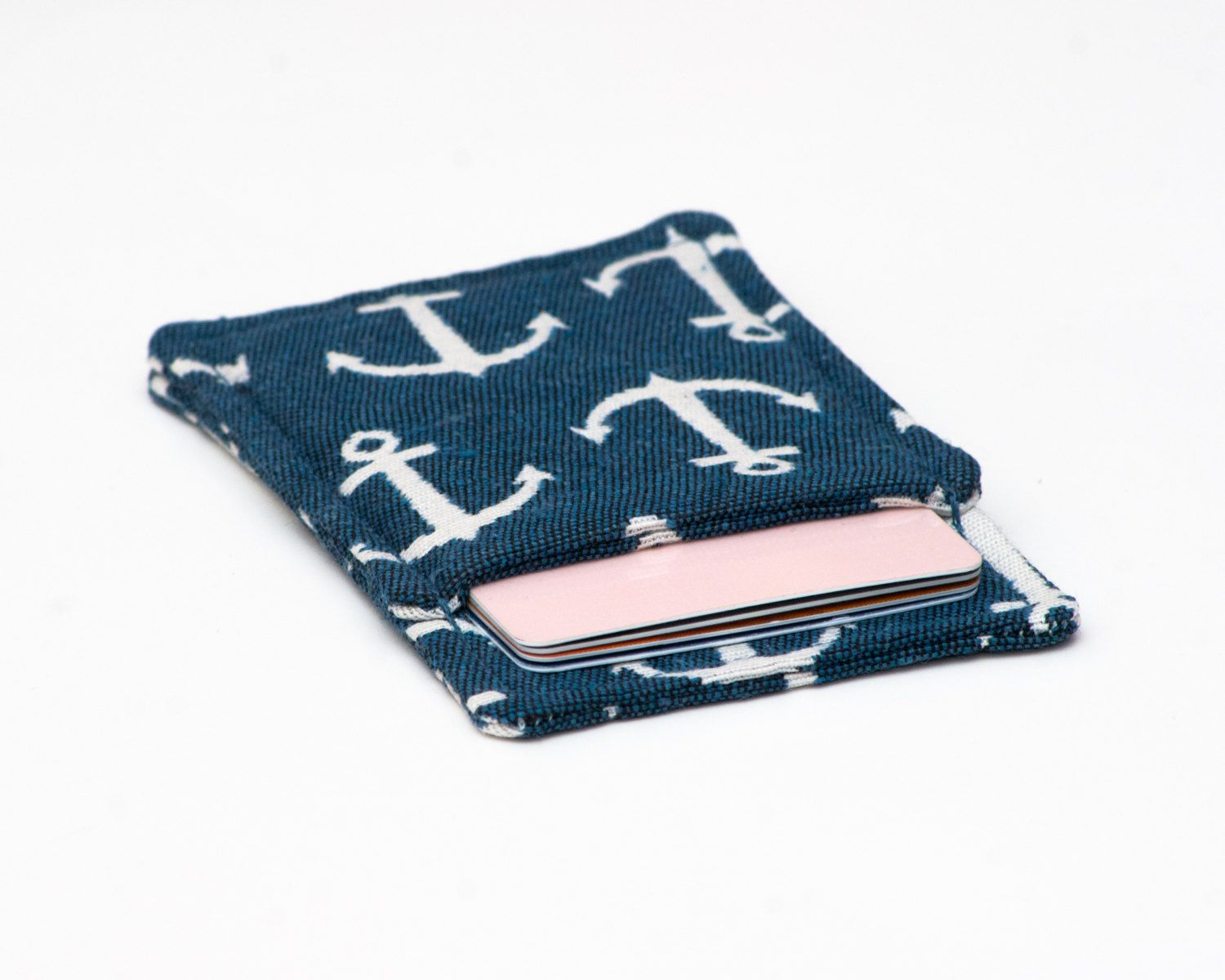 Nautical Front Pocket Wallet - Minimalist Blue with White Anchors ...