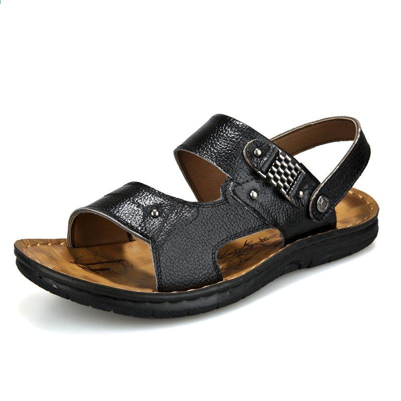 Estate 2018 scarpe da spiaggia da uomo in pelle scarpe casual coreane  sandali e sandali con doppio paio di sandali in pelle da uomo e97eae0699a