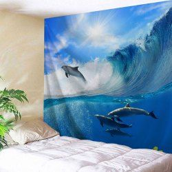 Surfing Dolphin Wall Hanging Bedroom Tapestry  Ocean Blue W59 Inch  L79 Inch is part of bedroom Blue Dressers - Rosewholesale welcomes customers worldwide, offering them best customer service and large collection of high quality products at cheap price