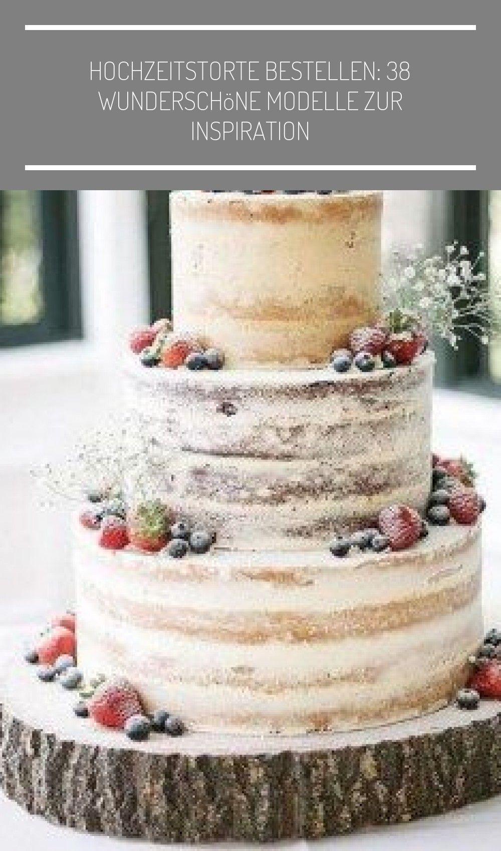 Naked-Cake mit frischen Beeren als Deko #holzscheiben deko hochzeit Hochzeitstorte bestellen: 38 wunderschöne Modelle zur Inspiration #holzscheibendeko