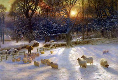 Sheep herd in winter, Joseph Farquharson.