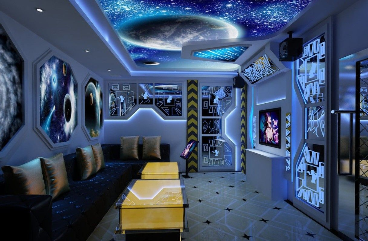 Space themed bedroom 4 space pinterest bedrooms for Blue themed living room ideas