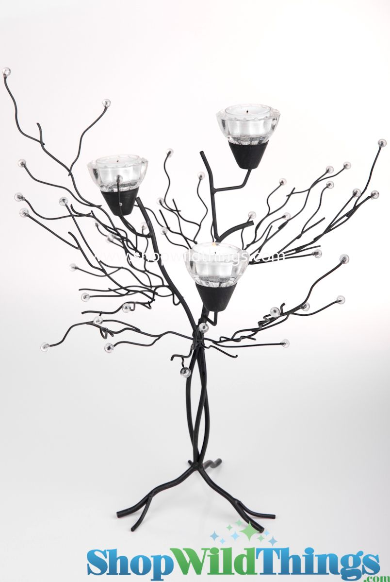 Metal Candle Tree with Clear Beads - 3 Cups 18\