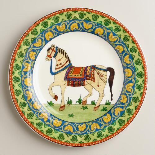 Out of stock.  Would love to mix all three dessert plates Voyage Horse Plates, Set of 4