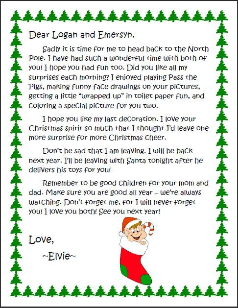 Welcome to goodbye letter to elvie crafts i know some you have the elf on the shelf and i thought this goodbye letter my son made for his kids was way cute pronofoot35fo Images