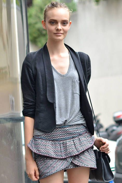Off-duty style this summer is all about a cotton blazer and layered miniskirt. Courtney D'Alesio