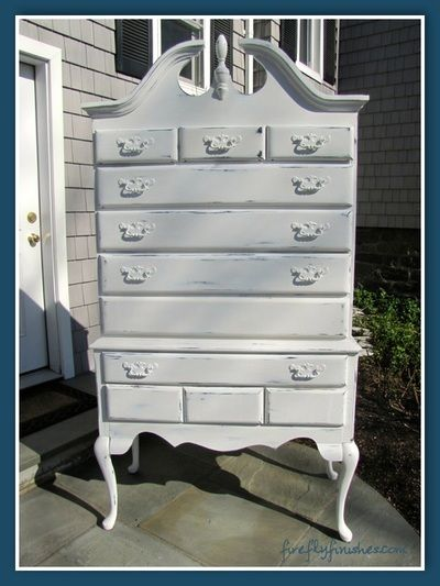 Beautiful Queen Anne highboy dresser  Painted in Annie Sloan s chalk paint   Pure White. Beautiful Queen Anne highboy dresser  Painted in Annie Sloan s