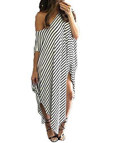 f657c3dbb8 ZANZEA Women s One Off Shoulder Striped Irregular Long Maxi Dress Loose  Kaftan -- Check out