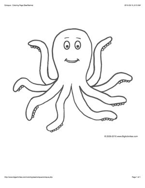 Sea Life coloring page with a picture of an octopus to