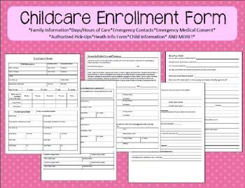 enrollment form for home childcare meets all licensing