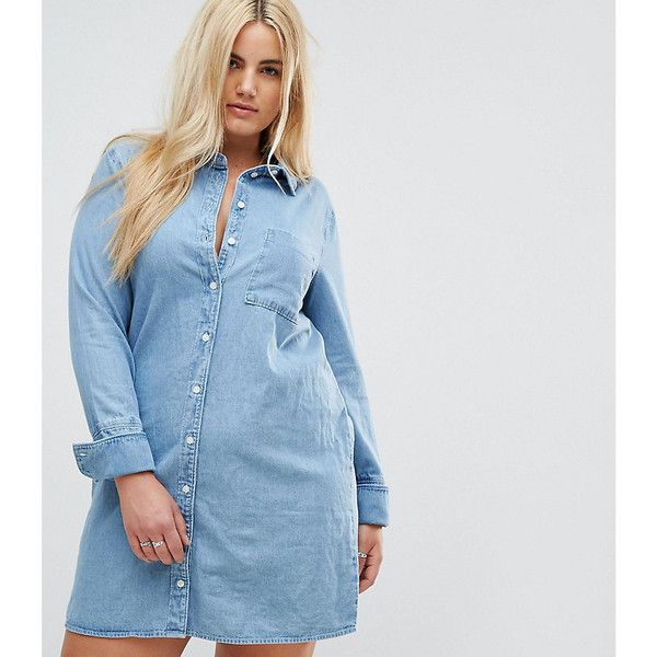 ba097ba02f Women s Plus Sizes · ASOS CURVE Denim Shirt Dress With Deep Cuff Detail  ( 40) ❤ liked on Polyvore