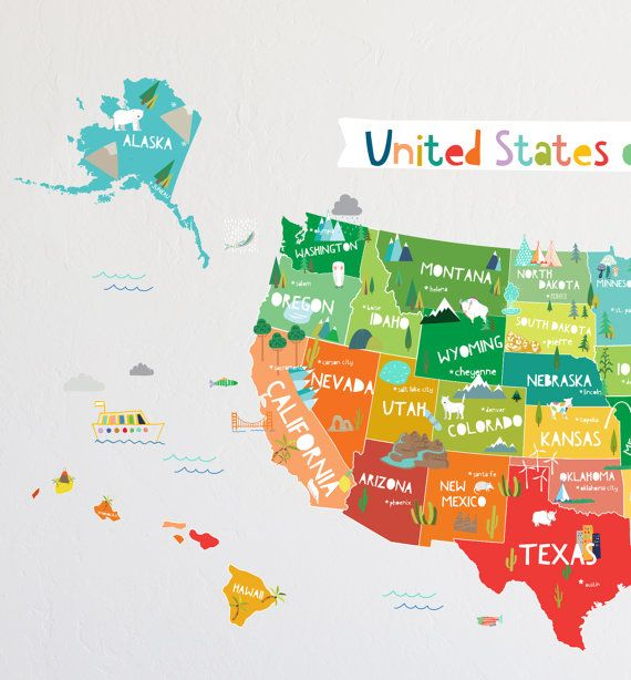 Wall Decal Bright USA Map Map Wall Decor Removable WOOD PROJECT