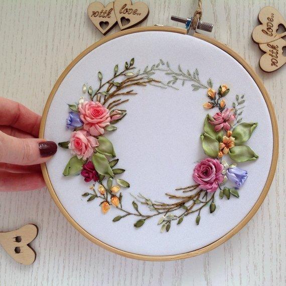 Elegant floral wreath hoop art Silk ribbon embroidery wall decor Modern framed botanical wall hanging #embroidery