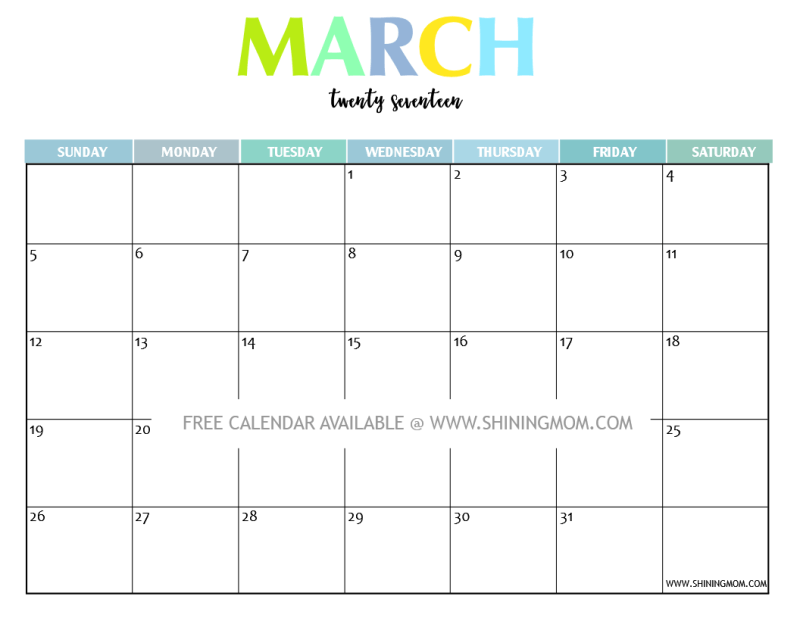 Your Free 2017 Printable Calendar: Fun and Colorful!   2017 ...