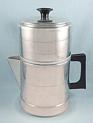 Vintage Aluminum Coffee Pot Percolator 7 Cup Camping Gear Drip Style Coffee Maker Retro Kitchen Decor