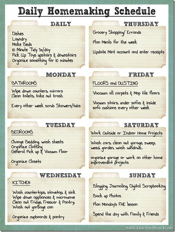 Daily Cleaning Schedule Except I Have To VacuumMop Every Other