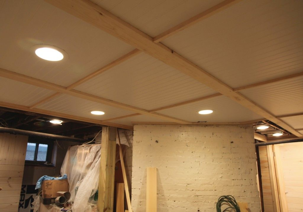 Diy bead board ceiling in the basement d i y for Basement options