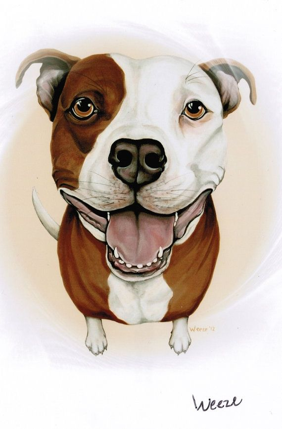 Pit Bull Terrier By Artbyweeze On Etsy Drawing Ideas Dibujos De