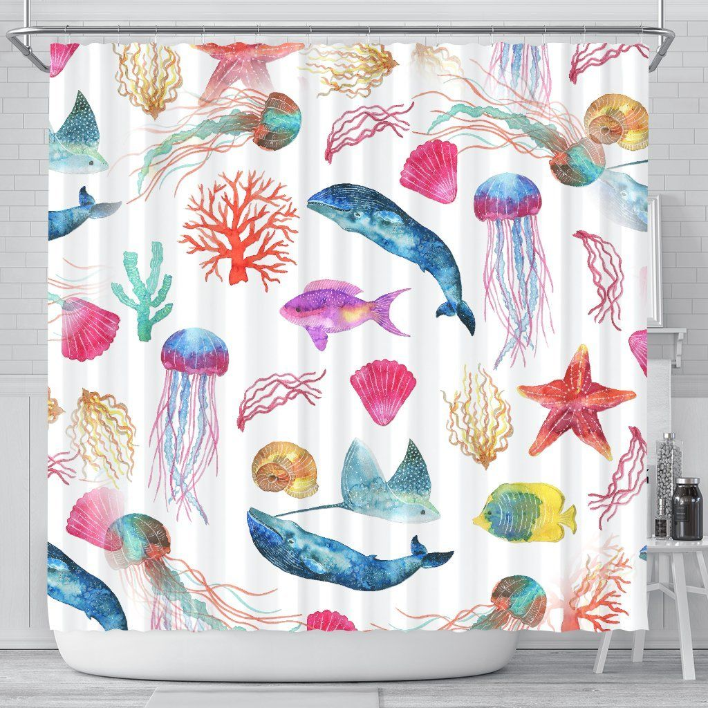 Watercolor Ocean Shower Curtain With Whales Fish Starfish And