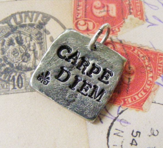 Pewter Hand Stamped Pendant  CARPE DIEM Silver by meiguidesigns