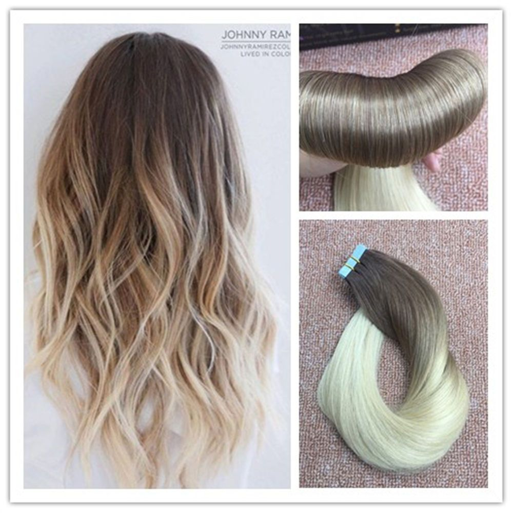 Tape in remy human hair extensions off black mix ash brown fading tape in remy human hair extensions off black mix ash brown fading to ash blonde pmusecretfo Choice Image