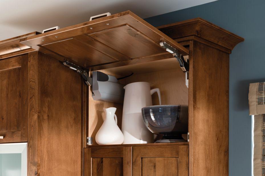 Bayside Knotty Alder Chestnut Ebony Glaze Lift U0026 Stay Cabinet With  Touch To Open Automation