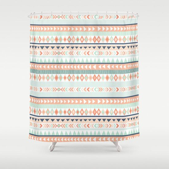 Mint And Coral Tribal Shower Curtain 70x70