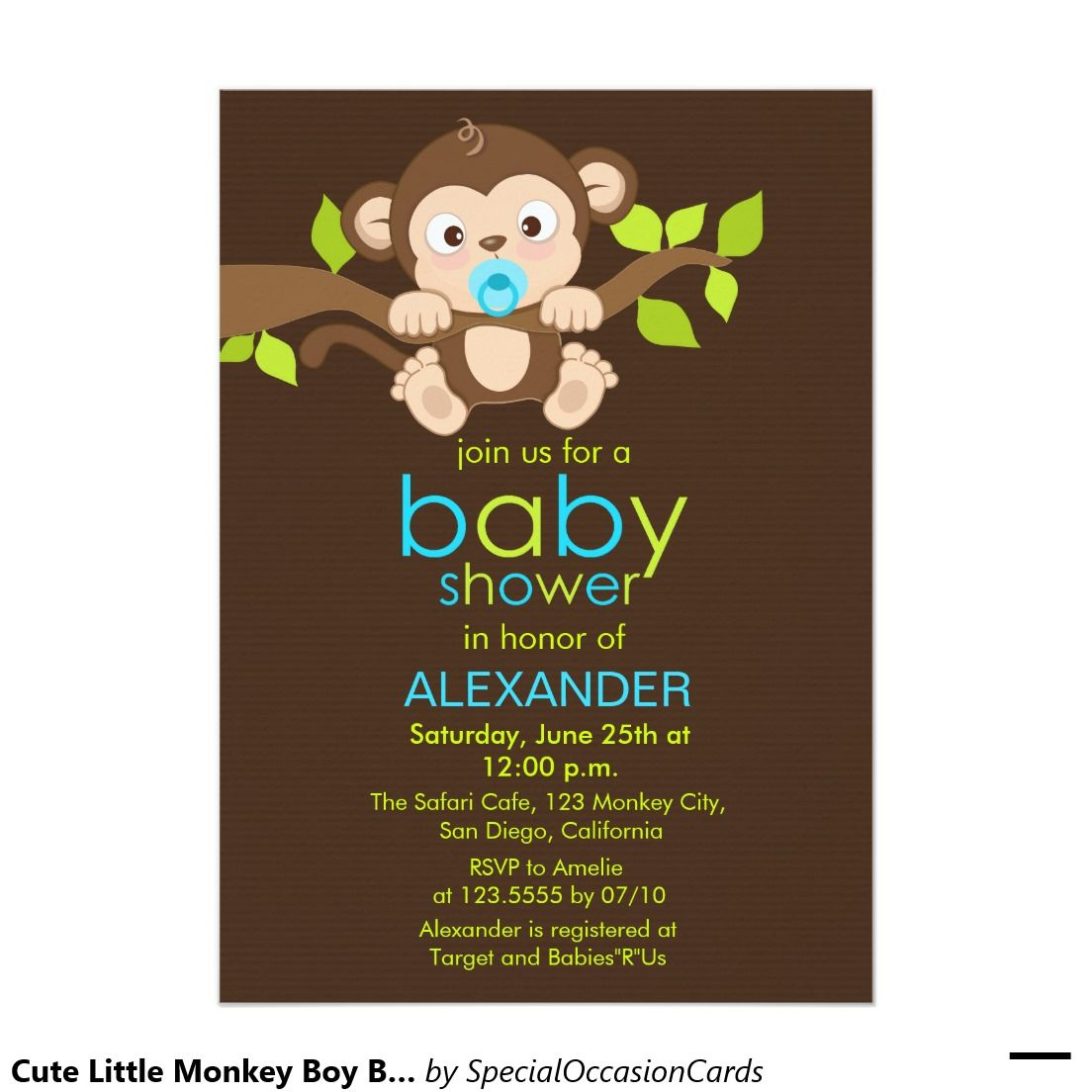 Cute little monkey boy baby shower invitation boy baby showers - Baby shower monkey pictures ...