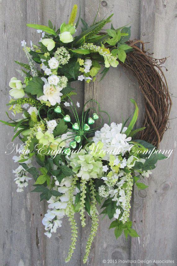 Elegant St Pat/'s Wreath Spring Wreath Irish Flag Burlap Wreath Ireland Flag St Patrick\u2019s Day Wreath Bells of Ireland Irish Wreath