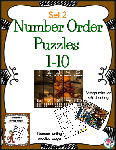 Number Order Puzzles Set 2 includes a fall theme of puzzles using the numbers 1-10.  Place these Number Order Puzzles at a center for students to interact with as they learn and practice counting from 1 to 10.  These puzzles are also great to send home with students for fun practice with their family. The student's objective is to place the cut-out puzzle strips into the correct number order to create a Fall themed picture.