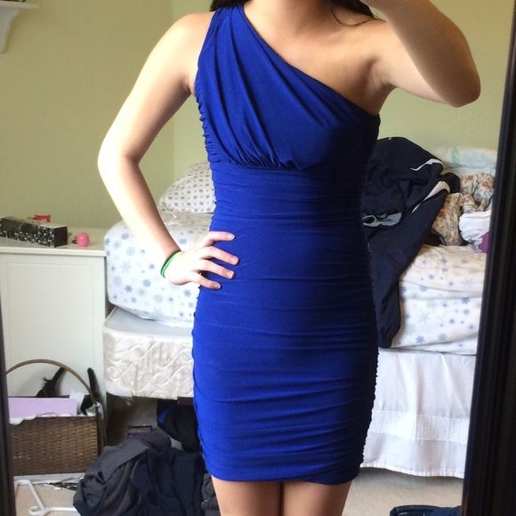 Soprano Royal Blue One Strap Dress comfy material, cinching on the sides, bodycon fit Soprano Dresses One Shoulder