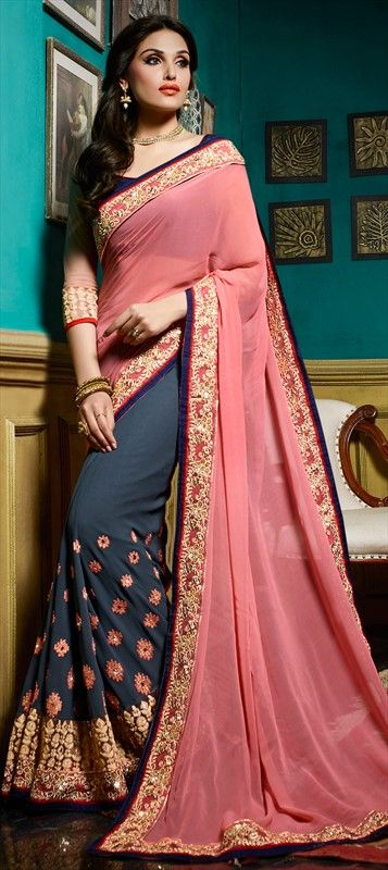4f8e94ca65 191752 Black and Grey, Pink and Majenta color family Embroidered Sarees,  Party Wear Sarees